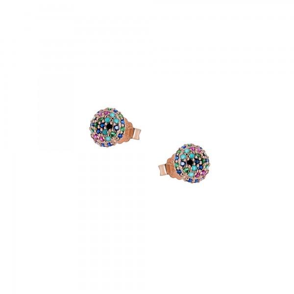 Σκουλαρίκια καρφωτά ασήμι 925 με ροζ επιχρύσωση και ζιργκόν PS/8A-SC166-2O