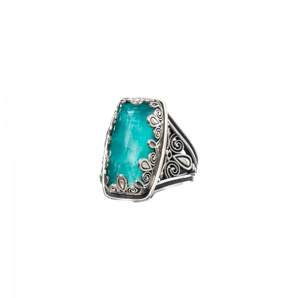 Χειροποίητο παραλληλόγραμμο δαχτυλίδι ασήμι 925 με αμαζονίτη GER-2874