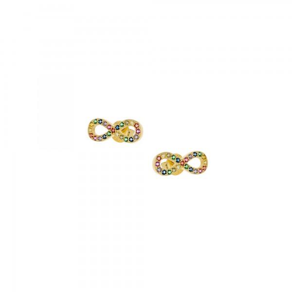 Σκουλαρίκια καρφωτά άπειρο ασήμι 925 επιχρυσωμένο με ζιργκόν PS/9B-SC081-5