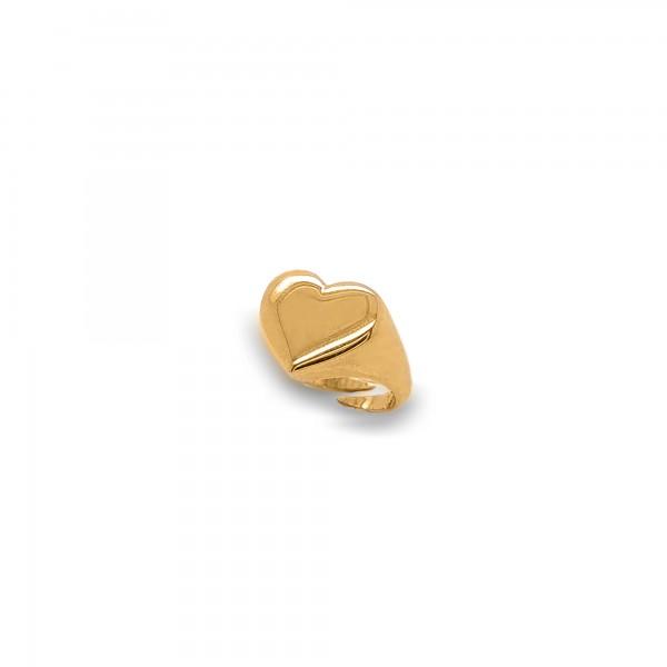 Δαχτυλίδι σεβαλιέ καρδιά ασήμι 925 επιχρυσωμένο GRE-55745