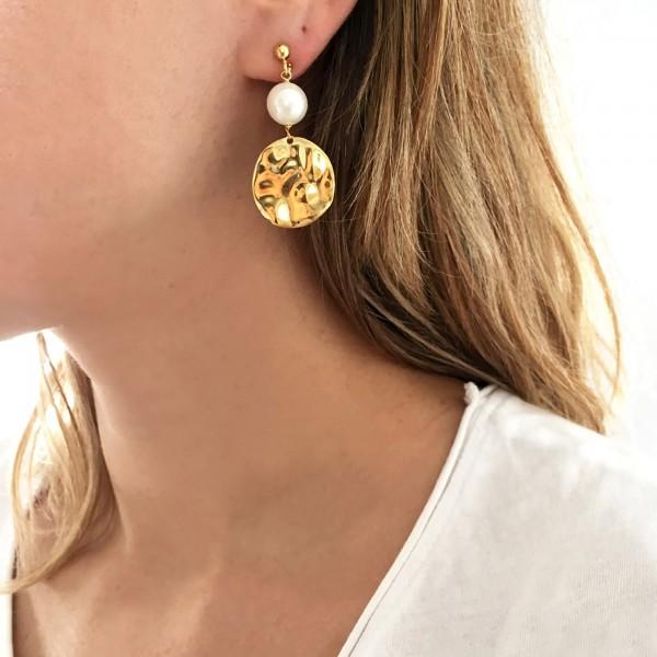Σκουλαρίκια ασήμι 925 επιχρυσωμένα με πέλρες GRE-53906