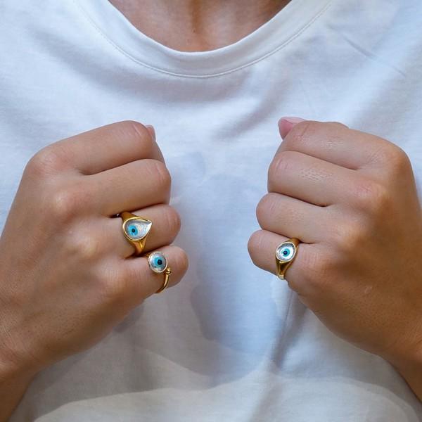 Δαχτυλίδι ασήμι 925 επιχρυσωμένο με σμάλτο και μάτι GRE-59380