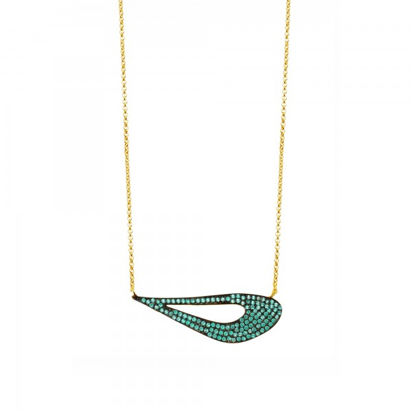 Necklace in silver 925 gold plated with petrol zirconia GRE-60187