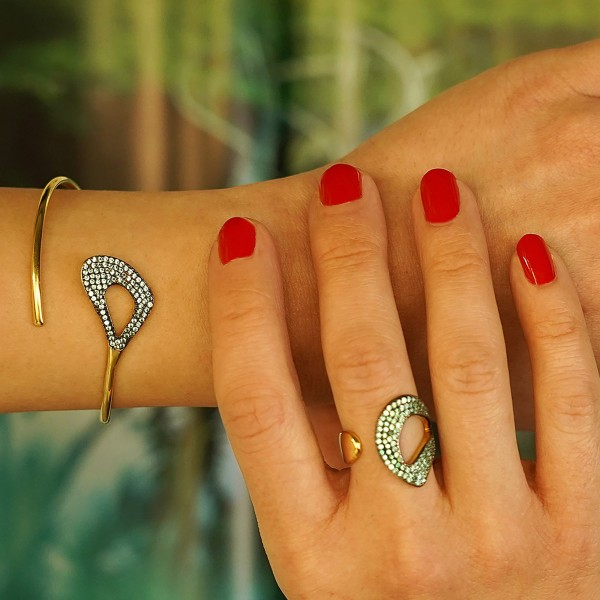 Bracelet in silver 925 gold plated with petrol ziconia GRE-60288