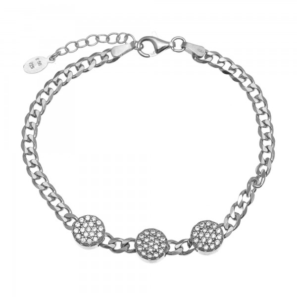 Bracelet in silver 925 platinum plated with white zirconia GRE-55762
