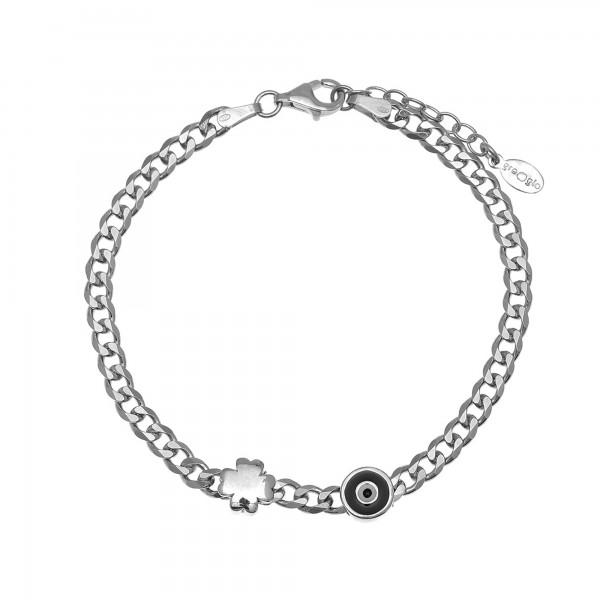 Evil eye bracelet in silver 925 platinum plated with clover GRE-55770