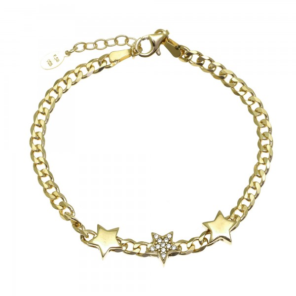 Stars bracelet in silver 925 gold plated with white zirconia GRE-55759