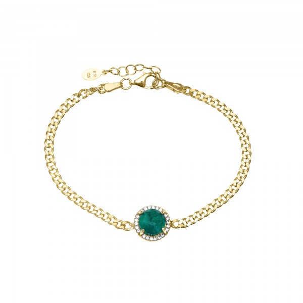 Bracelet in silver 925 yellow gold plated with emerald and zirconia GRE-55613