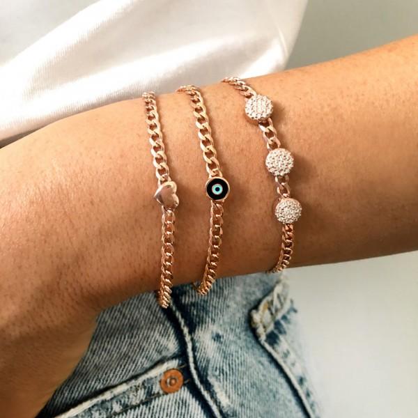 Heart bracelet in silver 925 rose gold plated GRE-53766