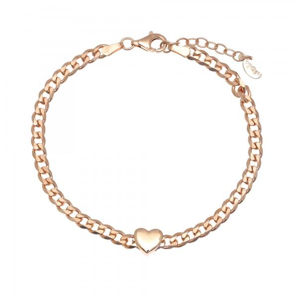 Βραχιόλι καρδιά ασήμι 925 με ροζ επιχρύσωση GRE-53766