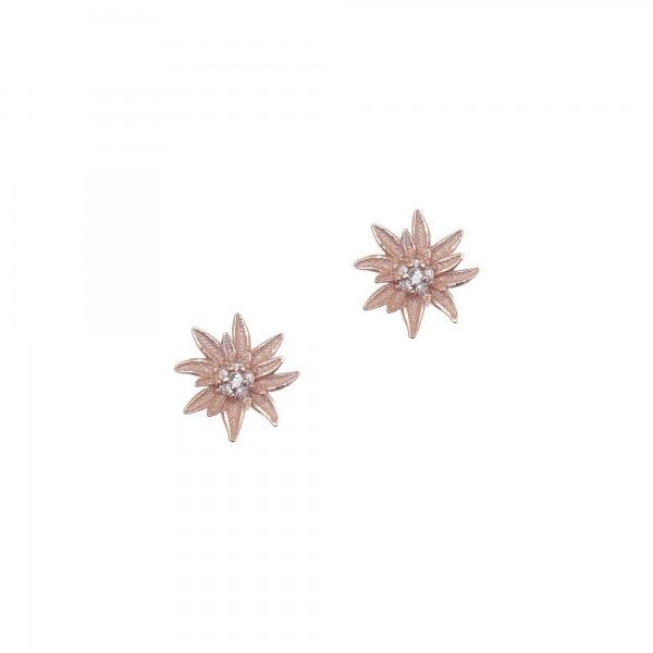 Σκουλαρίκια ασήμι 925 με ροζ επιχρύσωση και λευκά zirconia GRE-43433