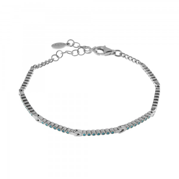 Bracelet in silver 925 platinum plated with light blue zirconia GRE-60422