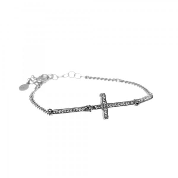 Βραχιόλι σταυρός ασήμι 925 επιπλατινωμένο με λευκά ζιργκόν GRE-59902
