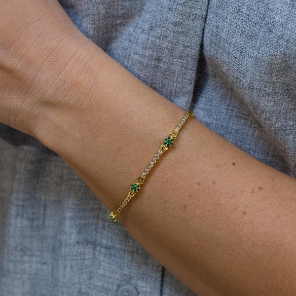 Bracelet in silver 925 gold plated with white and green zirconia GRE-59404