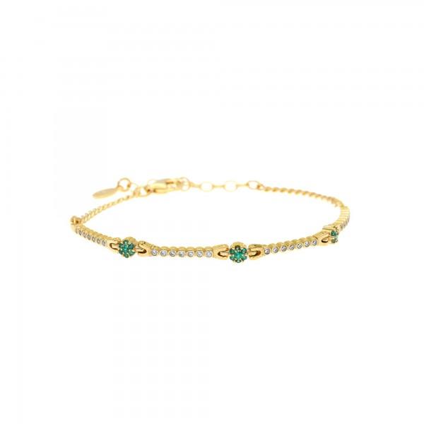 Βραχιόλι ασήμι 925 επιχρυσωμένο με λευκά και πράσινα ζιργκόν GRE-59404