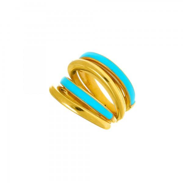 Δαχτυλίδι ασήμι 925 επιχρυσωμένο με τιρκουάζ σμάλτο GRE-56020