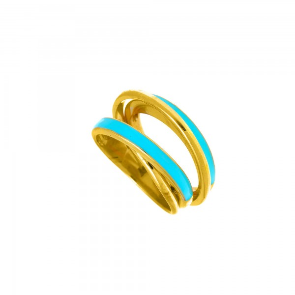 Δαχτυλίδι ασήμι 925 επιχρυσωμένο με τιρκουάζ σμάλτο GRE-56022