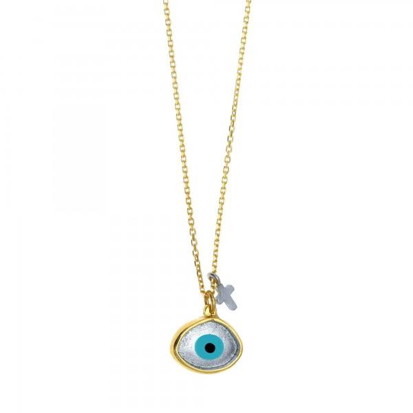 Κολιέ μάτι ασήμι 925 επιχρυσωμένο με σταυρό GRE-59373