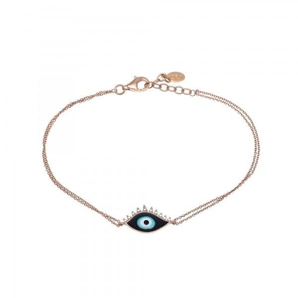Βραχιόλι μάτι ασήμι 925 με ροζ επιχρύσωση και ζιργκόν GRE-53736