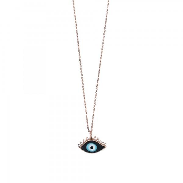 Κολιέ μάτι ασήμι 925 με ροζ επιχρύσωση και ζιργκόν GRE-53751