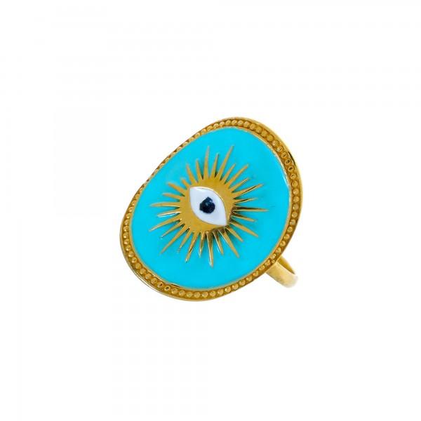 Δαχτυλίδι μάτι ασήμι 925 επιχρυσωμένο με σμάλτο GRE-56155