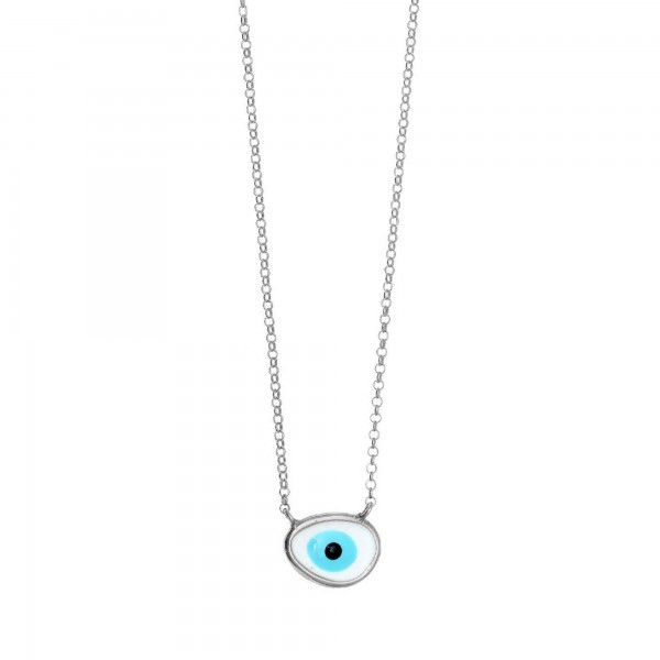 Κολιέ ασήμι 925 επιπλατινωμένο με μάτι από σμάλτο GRE-57317