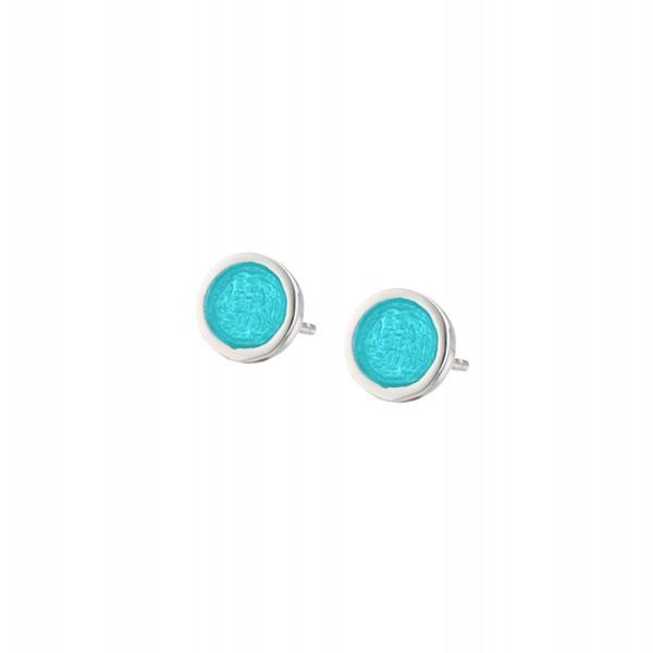 Χειροποίητα καρφωτά σκουλαρίκια κύκλοι μικροί ασήμι 950 με ανοιχτό τιρκουάζ σμάλτο KON-S2S2