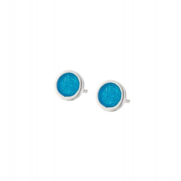 Χειροποίητα καρφωτά σκουλαρίκια κύκλοι μικροί ασήμι 950 με τιρκουάζ σμάλτο KON-S2S2