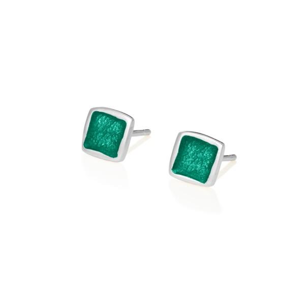Χειροποίητα καρφωτά σκουλαρίκια τετράγωνα μικρά ασήμι 950 με πράσινο σμάλτο KON-S2T5