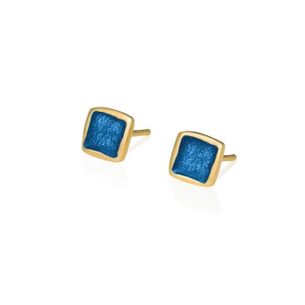 Χειροποίητα καρφωτά σκουλαρίκια τετράγωνα μικρά ασήμι 950 με σκούρο μπλε σμάλτο KON-S2T8X