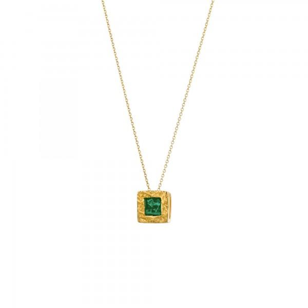 Χειροποίητο Μενταγιόν τετράγωνο ασήμι 950 επιχρυσωμένο με πράσινο σμάλτο KON-A34M5X