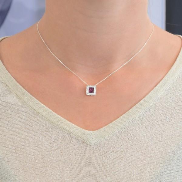 Χειροποίητο Μενταγιόν τετράγωνο ασήμι 950 επιπλατινωμένο με μωβ σμάλτο KON-Α34M10