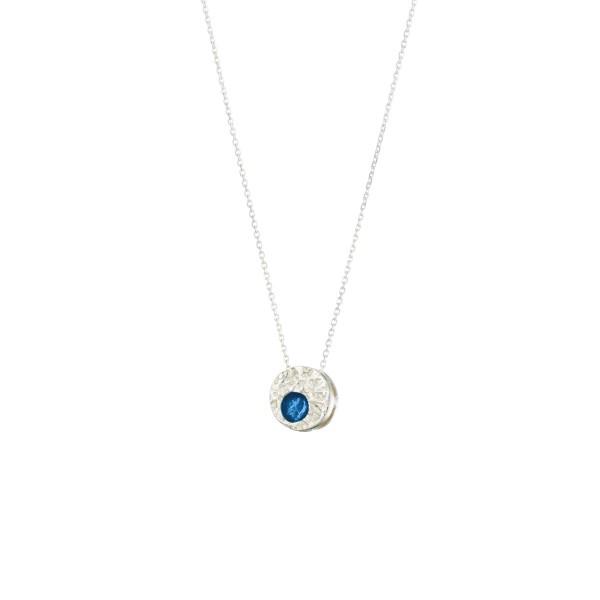 Χειροποίητο Μενταγιόν κύκλος ασήμι 950 επιπλατινωμένο με σκούρο μπλε σμάλτο KON-A48M8
