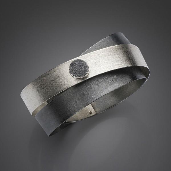 Silver 925 bracelet handmade oxidized and aqua aura semi-precious stone