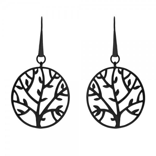 HONOR Tree of Life σκουλαρίκια κρεμαστά ασήμι 925 μαύρο χρώμα