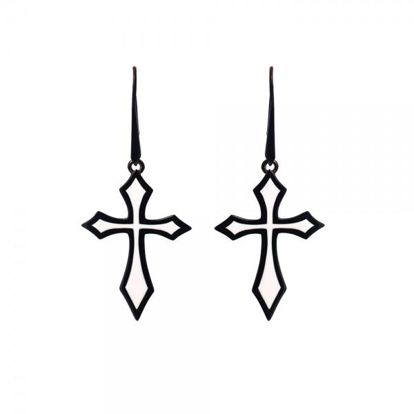 HONOR Cross σκουλαρίκια κρεμαστά με σμάλτο