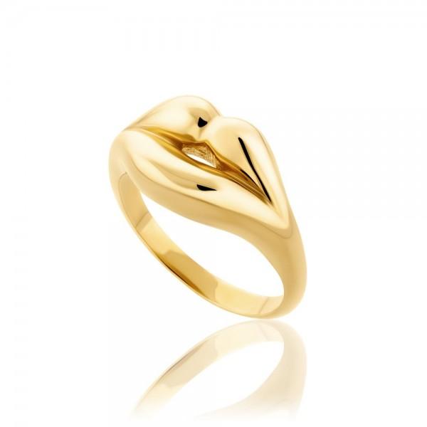 HONOR Lips δαχτυλίδι ασήμι 925 επιχρυσωμένο