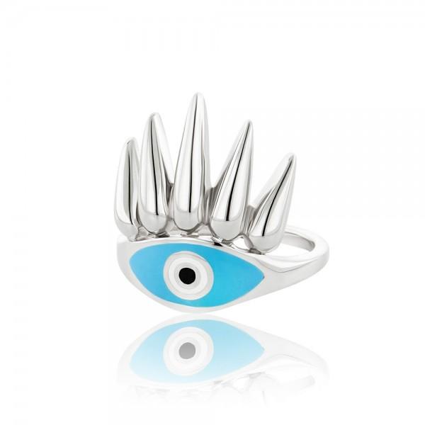 HONOR Eye of the Sun δαχτυλίδι ασήμι 925 μπλε σμάλτο