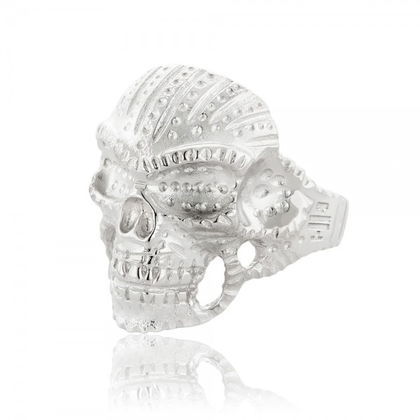 Honor Omano Indian Skull Δαχτυλίδι από ασήμι 925° HON-R029