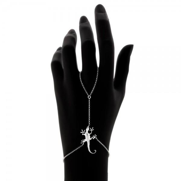 HONOR Lizard δαχτυλίδι με αλυσίδα βραχιόλι επαργυρωμένο