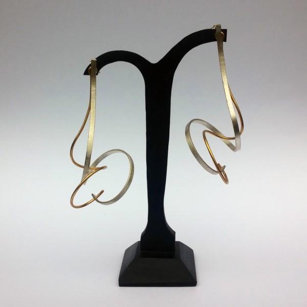 Σκουλαρίκια διπλά κρεμαστά ασήμι 925 χειροποίητα επιχρυσωμένα