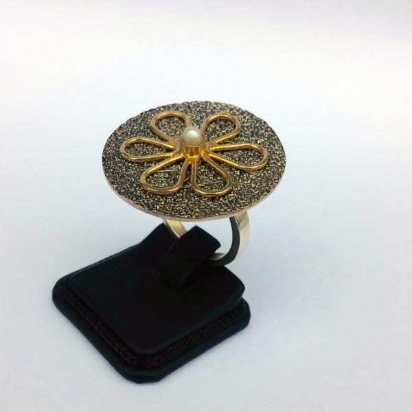 Δαχτυλίδι ασήμι 925 χειροποίητο επιχρυσωμένο οξειδωμένο σφυρήλατο πέρλα