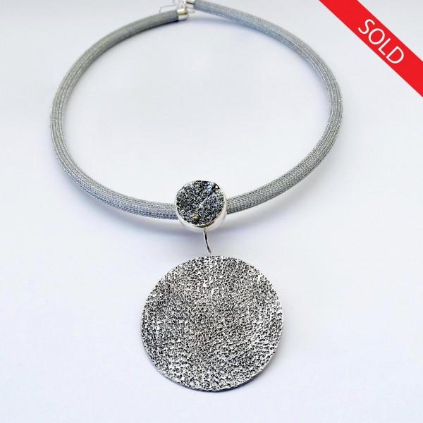 Κολιέ ασήμι 925 χειροποίητο σφυρήλατο ημιπολύτιμη πέτρα aqua aura