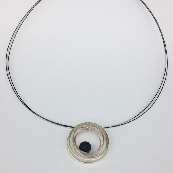 Κολιέ ασήμι 925 χειροποίητο οξειδωμένο σφυρήλατο λάβα