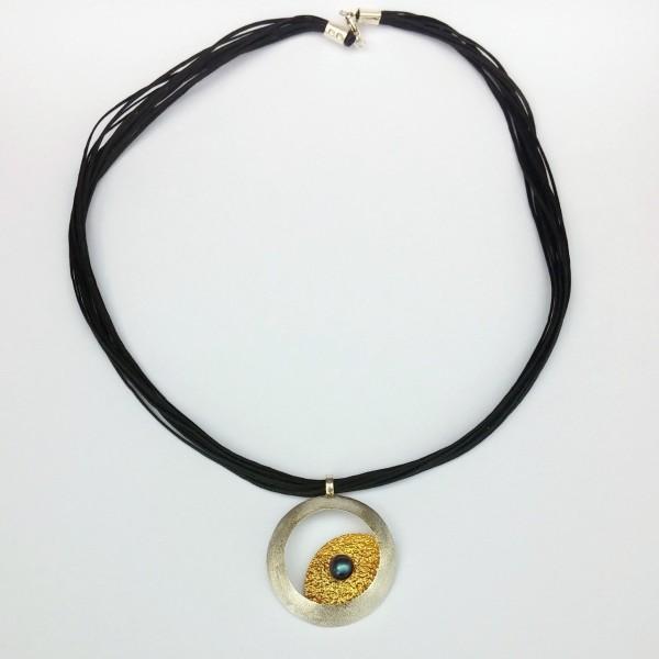 Κολιέ ασήμι 925 χειροποίητο επιχρυσωμένο σφυρήλατο μαύρη πέρλα