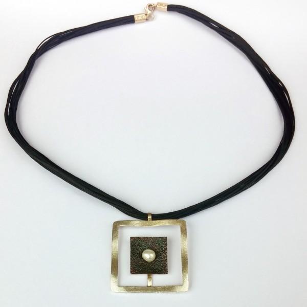 Κολιέ ασήμι 925 χειροποίητο οξειδωμένο σφυρήλατο με πέρλα