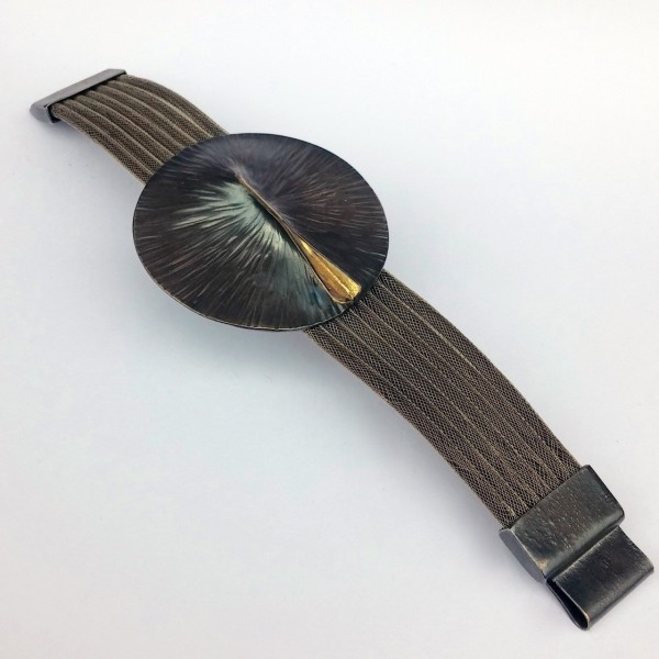 Βραχιόλι 18Κ χρυσό χειροποίητο με ασήμι 925 οξειδωμένο