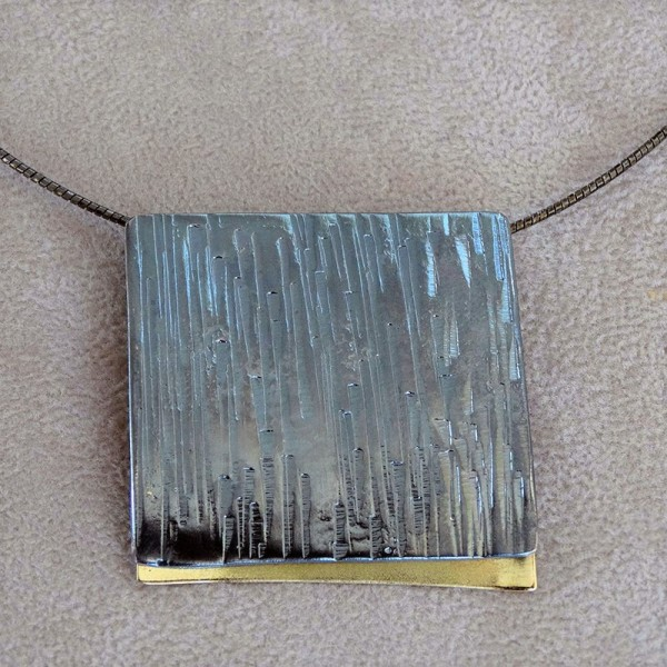 Κολιέ 18Κ χρυσό χειροποίητο με ασήμι 925 οξειδωμένο