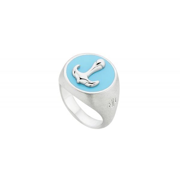 HONOR Anchor δαχτυλίδι ασημί 925 μπλε σμάλτο