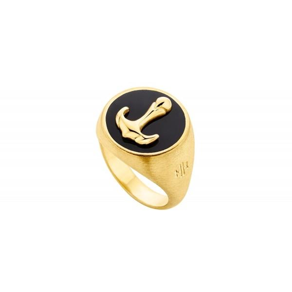 HONOR Anchor δαχτυλίδι ασημί 925 επιχρυσωμένο μαύρο σμάλτο
